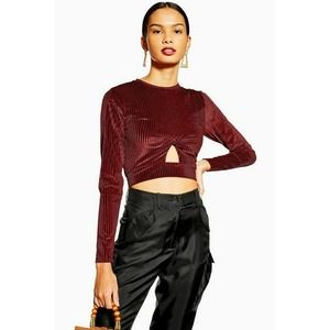 TOPSHOP 6 Red Burgundy Cut Out Ribbed Velvet Top